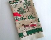 Vintage Linen Towel - Folk Art Country Scene - Primitive Style - Reduced