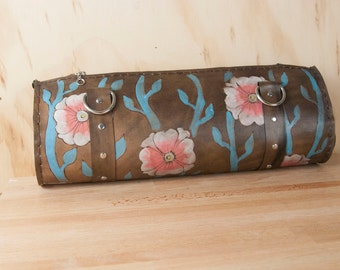 Leather Purse - Barrel Bag - Purse - Handbag - Zippered Purse - Aurora Pattern with Vines in Turquoise, Pink and antique black - Medium