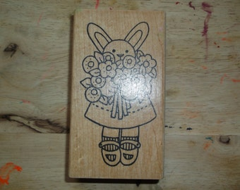 Girl Bunny with Flowers Rubber Stamp