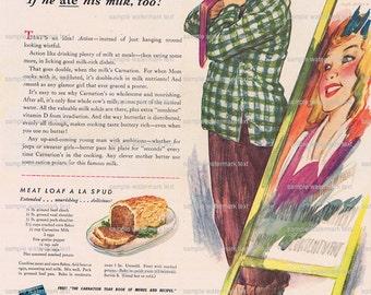 Carnation Milk.Life magazine.original.page.advertisement.wartime.1943.home deco,sweetie.kitchen vintage.foodie.chef.mom.comfort food.art.eco