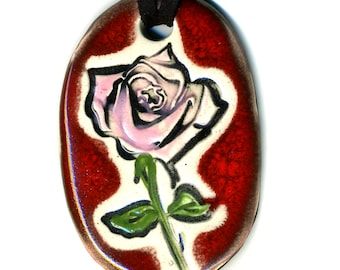 Pink Rose Ceramic Necklace in Red