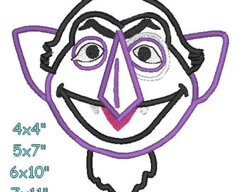 CountVonCount Head Machine Embroidery Applique Pattern 4x4 5x7 6x10 7x11 INSTANT DOWNLOAD