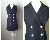 Vintage 80s 90s black and white button double breasted sheath dress / secretary / street fashion / power dressing / business