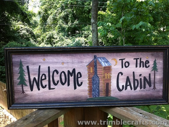 Welcome to the Cabin sign framed art rustic cabin painting decor hostess gift mountain theme