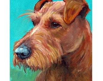 Irish Terrier Dog Art Print of Original Painting by Dottie Dracos