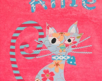 Personalized Large Pink Velour Beach Towel with a Fun and Beautiful Cat, Pool Towel, Kids Bath Towel, Baby Towel, Camp Towel, Swim Towel