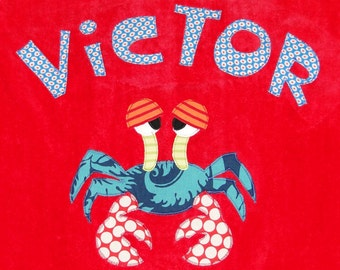 Personalized Large Salsa Red Velour Beach Towel with Funny Crab,Pool Towel, Kids Bath Towel, Camp Towel, Bridal Party Gift, Baby Towel, Swim