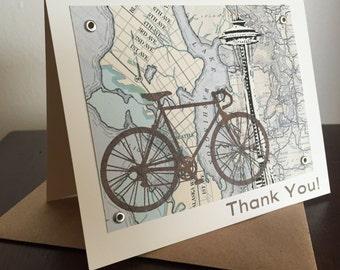 Seattle Bike and Map - Gocco Screen-Printed Thank You Card