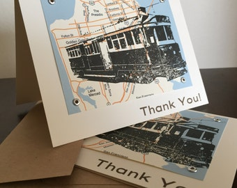 San Francisco Map and Trolley - 24-Pack Screen-Printed Thank You Cards