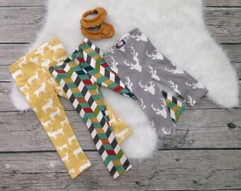 Organic little Boys Baby Toddler Knit Leggings Deer Elk Head Moose Colorful