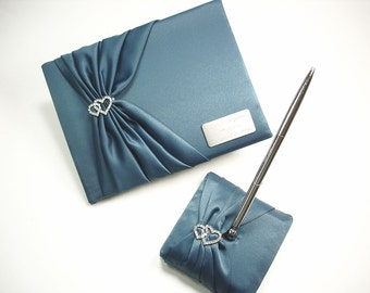 Personalized Teal Wedding Guest Book and Pen Set with Linked Hearts and Engraving