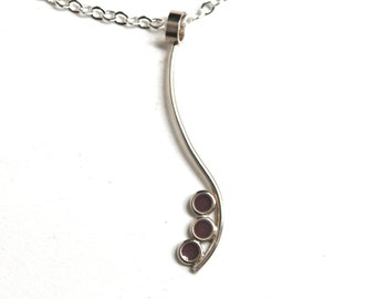 Purple Resin and Silver Handmade Necklace, Modern Minimalist, Purple Pendant