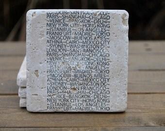 Travel Natural Stone Coasters. Set of 4. Hostess, Housewarming, Going Away