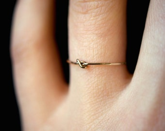 SOLID 14K Gold Tiny Ultra Thin Closed Knot ring, delicate 14K gold ring, gold stacking ring, gold knot ring, 14K gold knot, infinity ring
