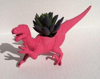 Jurassic Raptor Pink Dinosaur Planter Unique Home Decor