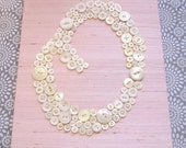 Baby Nursery Wall Art, Button LETTER O Monogram on SILK, Children Wall Art, Canvas or Ready-To-Frame (frame not included)