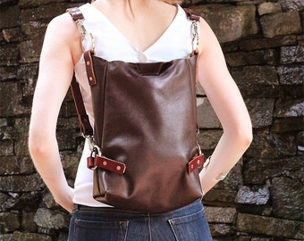 Leather Handbag - Convertible Leather Backpack