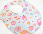 Baby Girl Bib - Sweet Birds in Pastel - cotton bib with terry cloth backing