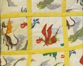 Dragon Quilt  Medieval Fantasy in Oatmeal, Grey and Yellow cotton and cotton-flannel handmade in PA for Baby Crib and Toddler Bed