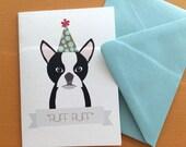 Ruff Ruff, Boston Terrier birthday greeting set of 6