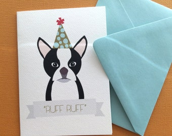 Ruff Ruff, Boston Terrier birthday greeting set of 6