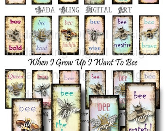 1 x 2  inch, What Do You Wanna Bee When You Grow Up... designed for  dominos and glass tile pendants  INSTANT Digital Download at Checkout