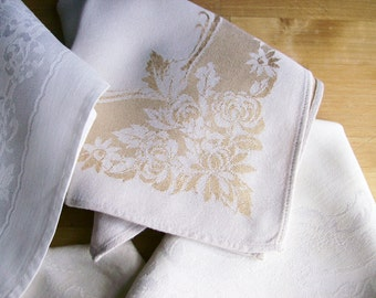 Vintage Damask Brunch Dinner Napkins White Table Linens 5 Assorted Traditional Dining Holiday