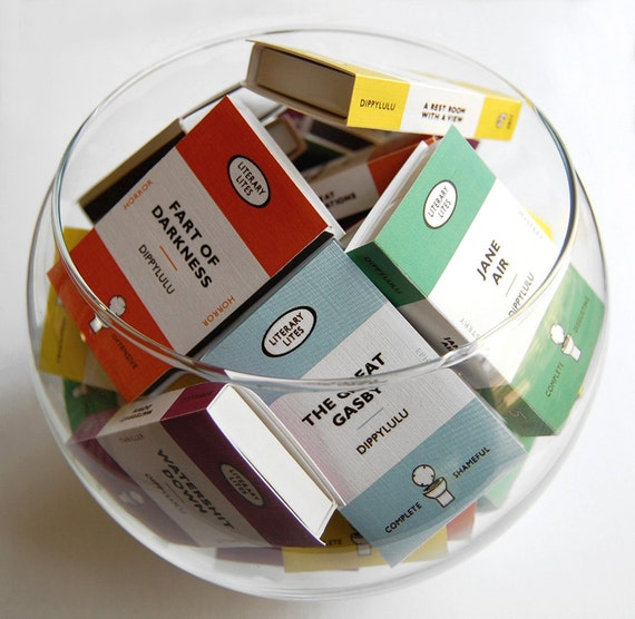 Book stocking stuffer gag gift -- Collected Works of Literary Lites. Boxed set of farty fun. Hilarious set of mini book matches. 9 fun boxes