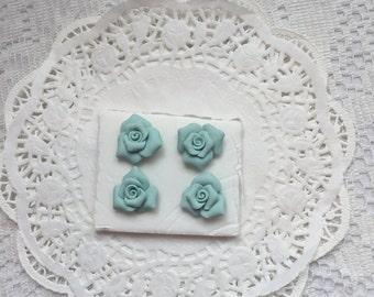 PUSHPin Aqua Handmade Clay Roses Set of 4 Thumbtacks SVFteam ECS sct schteam