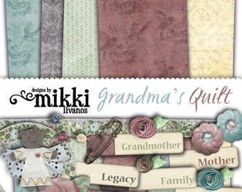 Digital Scrapbook Kit- Grandma's Quilt- a family and heritage kit