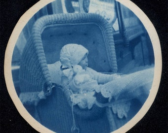 vintage photo 1910 Cyanotype Circle Baby in Wicker Buggy