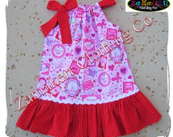 Girl Valentines Day Pillowcase Dress Heart Red Custom Boutique Clothing Infant Toddler Baby 3 6 9 12 18 24 Month Size 2t 3t 4t 5t 6 7 8