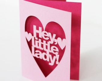 Hey Little Lady Papercut New Baby Girl Congratulations Card - Pink