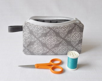 Small Zippered Pouch - Gray and White Lace