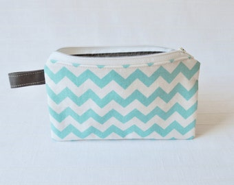 Small Zippered Pouch - Small Chevron in Aqua