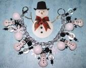 Snowman Charm Bracelet Christmas Charm Bracelet Snowman Jewelry Winter Jewelry Holiday Snow Snowflake Christmas Jewelry OOAK Statement Piece