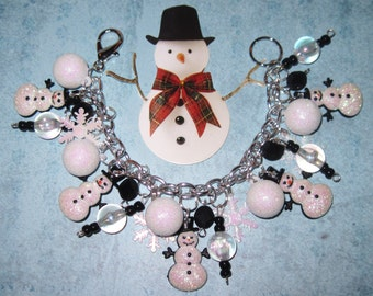 Snowman Charm Bracelet Christmas Charm Bracelet Snowman Jewelry Winter Jewelry Holiday Snow Snowflake Christmas Jewelry OOAK Statement Piece