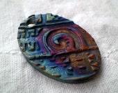 Raku Bead with Spiral Design, Oval Focal Bead, Statement Bead