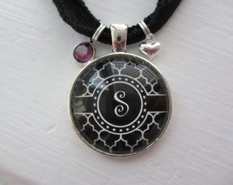 Black Quatrefoil Initial Pendant Necklace with Birthstone & Heart Charm