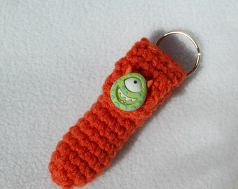 Lip Balm Holder, Chap Stick Holder, Key Chain, Lip Balm Cozy, Chapstick Cozy, Crochet - Orange with green monster