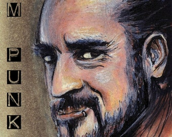 CM Punk Copic Marker Drawing Art Print WWE Wrestling 11.7 x 16.5 inches