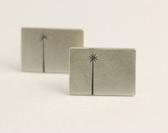 Cufflinks in Sterling Silver With Native New Zealand Tree Etchings