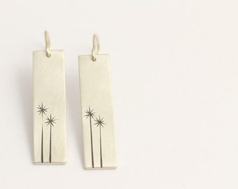 Drop Earrings in Sterling Silver with Two New Zealand Cabbage Trees