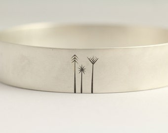 Bangle Bracelet with Forest Family in Recycled Sterling Silver Eco Friendly