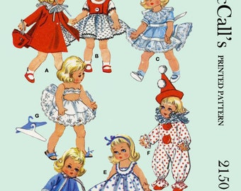 1950's McCalls 2150 - 7 to 8 inch Ginny, Alexander-kins doll clothes sewing pattern - PDF