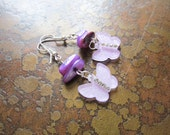 Petal Pusher Butterfly Glass and Acrylic Beaded Dangle earrings