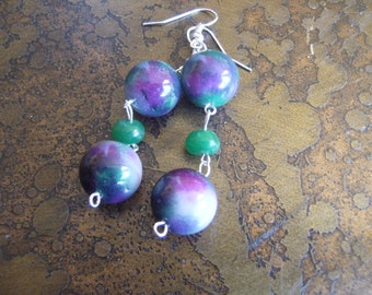 Moonstruck Glass and Chalcedony Beaded Dangle earrings