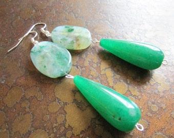 Green Envy Sesame Jasper and Jade Beaded Dangle earrings