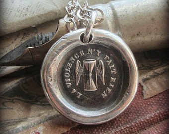 Time Wax Seal Necklace - Time Waits For No One - Winged Hourglass - Carpe Diem - Seize Every Opportunity - FP385