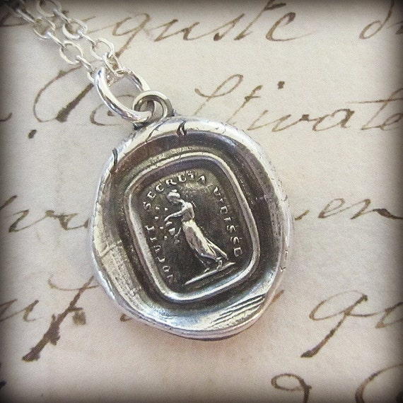Pandora opening the fatal box - Latin Wax Seal Necklace in Fine Silver - greek mythology latin motto - L1180
